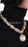 Necklace COL27 gold and pearls