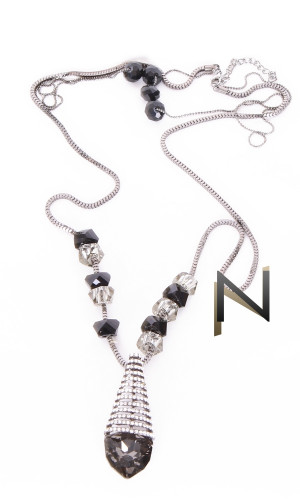 Necklace COL30 black and strass