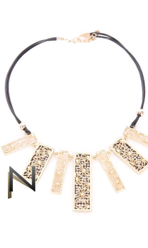 Necklace leather COL31 metal and rhinestone