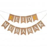Eid Mubarak Banner in natural linen