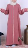 Abaya girl AF49 crochet lace Saphyr fabric (like Medina silk)