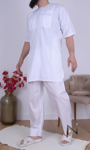 Suit EH17 white short qamis...
