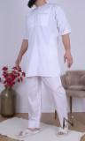 Suit EH17 white short qamis and harem pants