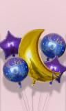 Kit 5 big balloons Eid Mubarak moon and stars