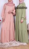 Bohemian maxi Dress RLP111 Saphyr fabric (Medina silk style) with blouse cuffs