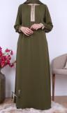 Abaya Yamha Saphyr fabric (Medina silk style) buttoned collar and blouse sleeves