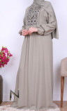Dress RLP112 embroidery geometric patterns and long sleeves