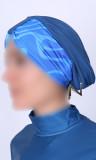 Burkini turban BK86 wave pattern