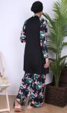 Burkini turban BK95 wide pants tropical flowers patterns