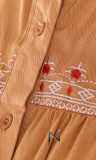 Dress RLP115 buttoned cuffs and embroidery